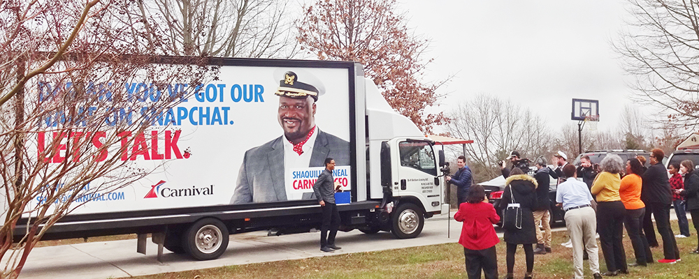 How A Mobile Billboard Helped Acquire Carnival Cruises Snapchat Handle