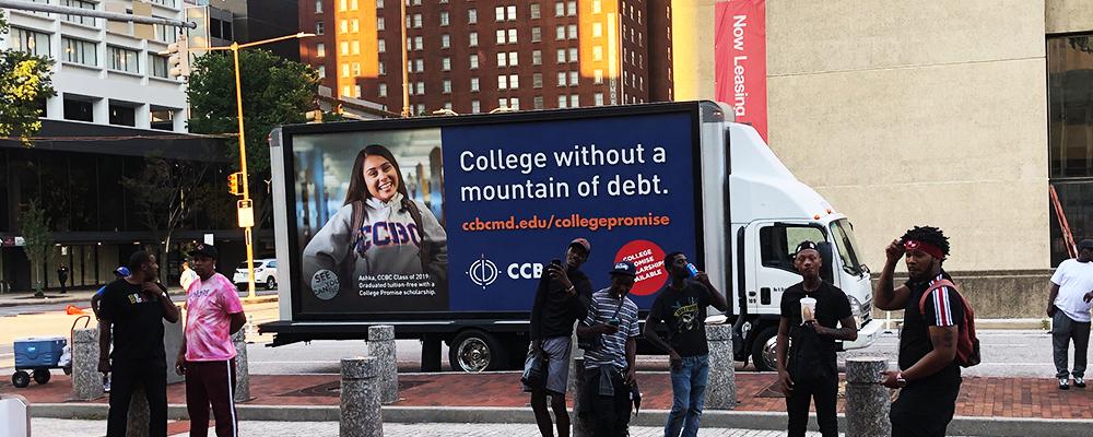college recruitment mobile billboard campaign